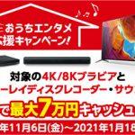 最大7万円キャッシュバック「ソニーおうちエンタメ応援キャンペーン」